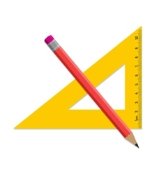 Pencil and ruler icon isolated on white vector image vector image