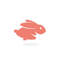 pink rabbit fast running forward hare jumping vector image