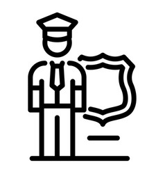policeman guard icon outline style vector image