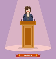 Politician woman standing behind rostrum vector