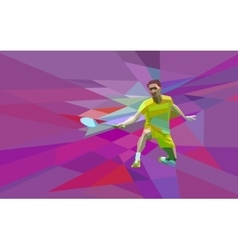 Polygonal badminton player on colorful low poly vector image