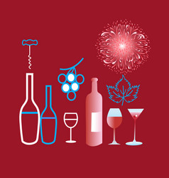 Poster graphics of different wine and glasses vector
