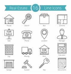 Real Estate Line Icons vector