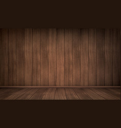 Realistic empty interior wooden room vector
