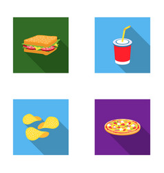 Sandwich cola chips pizza fast food set vector