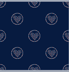 seamless hearts in rings pattern on dark hand vector image