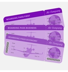 Set of airline boarding pass Purple tickets vector