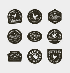 set of premium fresh chicken meat labels vector image