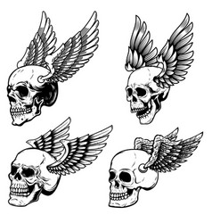 set winged human skull isolated on white vector image