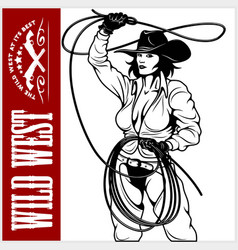 sexy cowgirl with lasso isolated on white vector image