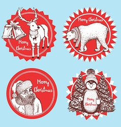 Sketch Christmas icons vector image