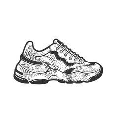 sneaker shoe line art sketch vector image