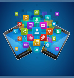 social media icons and mobile smartphone vector image