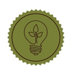 Stamp light bulb flat icon with leaf inside vector
