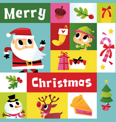 Super cute cartoon christmas mosaic decoration vector