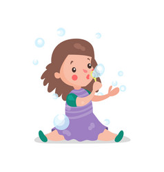 sweet cartoon brunette little girl sitting on the vector image vector image