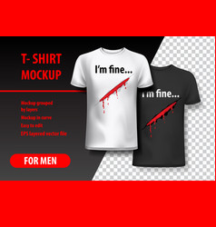T-shirt mockup with funny phrase in two colors vector