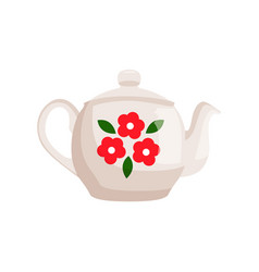 teapot decorated with flowers vector image