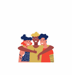 three happy friends in group hug isolated vector image
