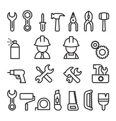 Tools icon set in thin line style vector
