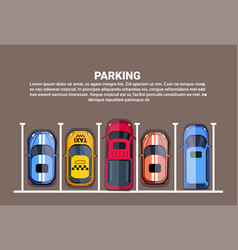 top view city parking lots with set of vector image