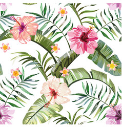 Tropical flowers composition white background vector