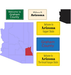 us arizona state graham county map and road sign vector image