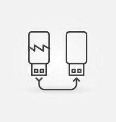 Usb flash drive data recovery outline vector