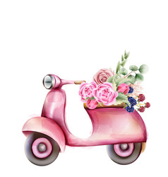 Vespa style pink scooter with flowers in trunk vector