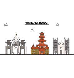 Vietnam hanoi outline skyline vietnamese flat vector