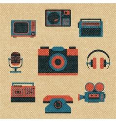 vintage media icons vector image