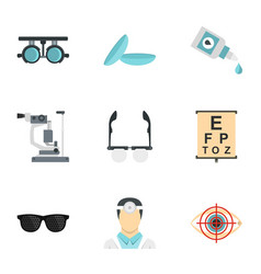 vision correction icons set flat style vector image