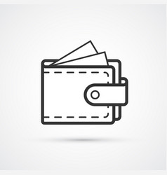 wallet flat line trendy black icon eps10 vector image