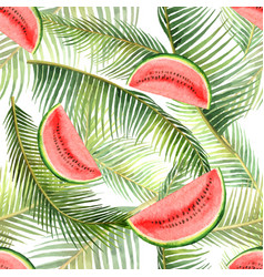 Watercolor seamless pattern tropical leaves vector