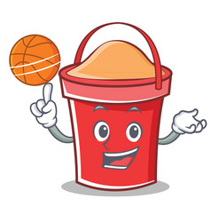 With basketball bucket character cartoon style vector