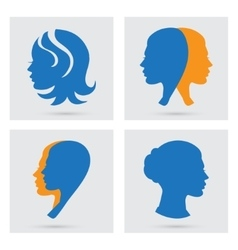 Woman icons set portraits silhouette vector image