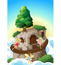 Fairies and cave vector image vector image