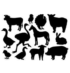 farm animals livestock silhouettes vector image