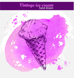 hand drawn sketch ice cream cone vector image