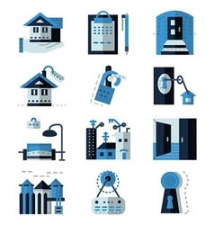 Rent real estate blue flat icons vector image vector image