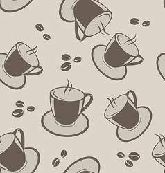Seamless background with coffee cups and beans vector image vector image