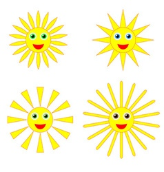 Sun smiles collection vector image vector image