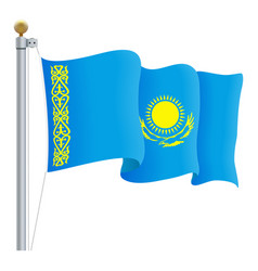 waving kazakhstan flag isolated on a white vector image