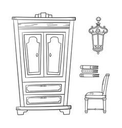 antique furniture set - closet lamp book and vector image