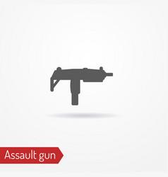 compact submachine gun silhouette icon vector image vector image