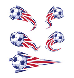 football blue white red and soccer symbols set vector image
