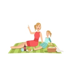 Mother And Child Having Picnic Together vector image vector image