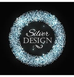 Silver glitter christmas frame with calligraphy vector image vector image