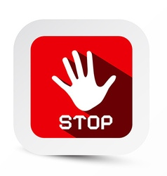 Stop Palm Hand Flat Design Symbol on Rounded vector image