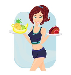 Young woman with fruits and cake vector image
